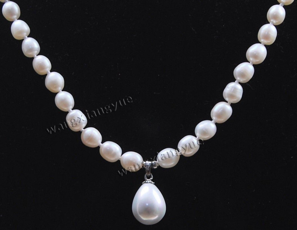 7-8MM White Akoya Cultured Pearl/ Shell Pearl Pendant(12x16MM) Necklace 18""