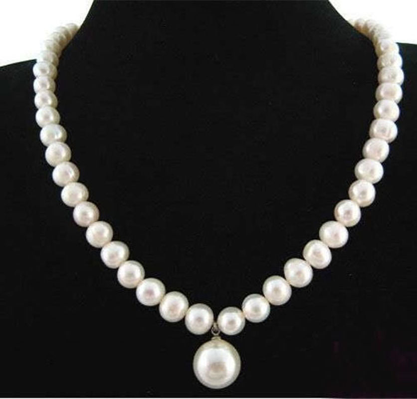 7-8MM Natural White Akoya Cultured Pearl/ Shell Pearl Pendant(12MM) Necklace 18""
