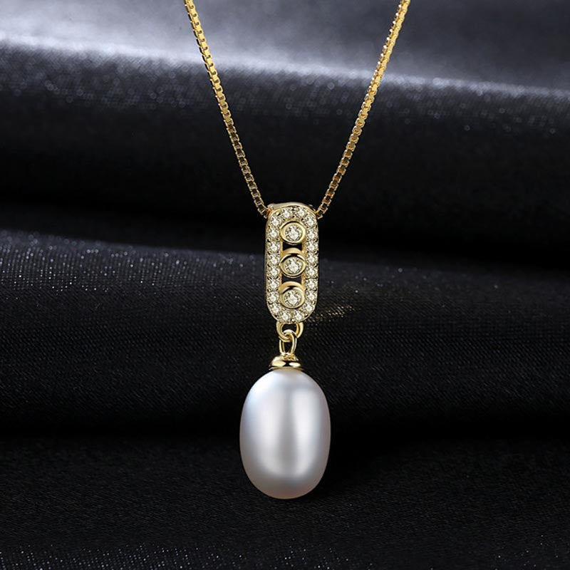 BSL Fine Jewelry Store 18 inch 925 Silver Chain Freshwater Cultured One Pearl Necklace For Women / Wife Anniversary Gift