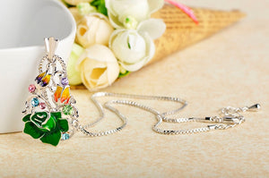 Trendy Rose Flower Jewelry Set For Women Party Wedding Accessories Green Enamel Pendant Necklace Earrings Ring Sets