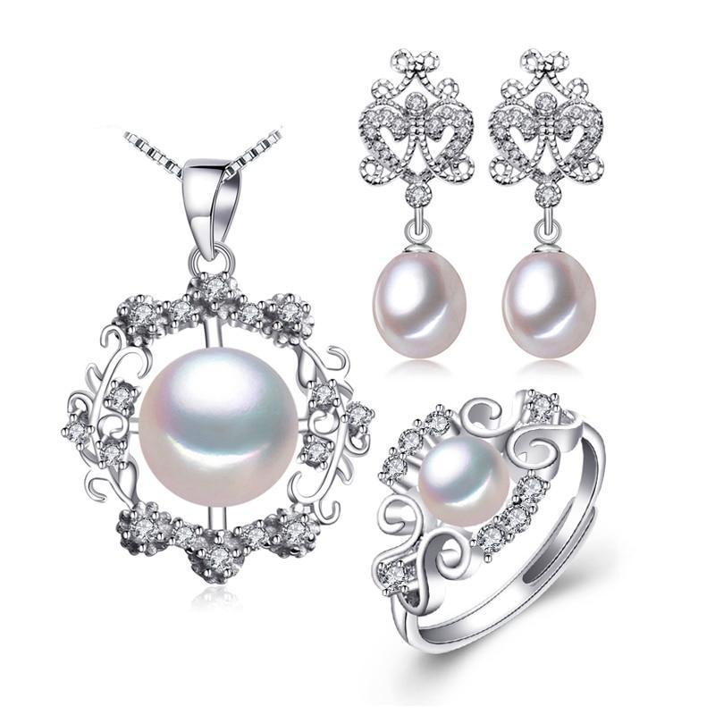 925 Sterling Silver earrings with stones,natural Pearl jewelry sets for women,bohemian set ethnic earrings rings