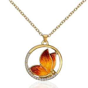 "New Gold Color Butterfly Pendant Necklace Animal Circle Round Clear Rhinestone Enamel 46cm(18 1/8"") long, 1 Piece"