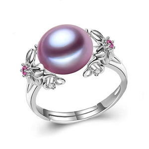 10-11mm Pearl Jewelry,bohemia Pearl rings for love,Freshwater Pearl 925 Silver ring, silver rings for women gift box
