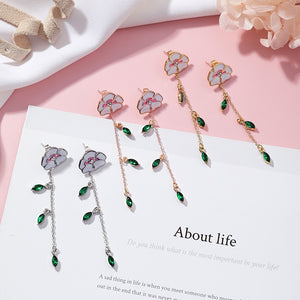 2018 Fashion Jewelry Enamel Flower Long Pendientes Mujer Moda Green Cubic Zircon Tassel Earrings Femme