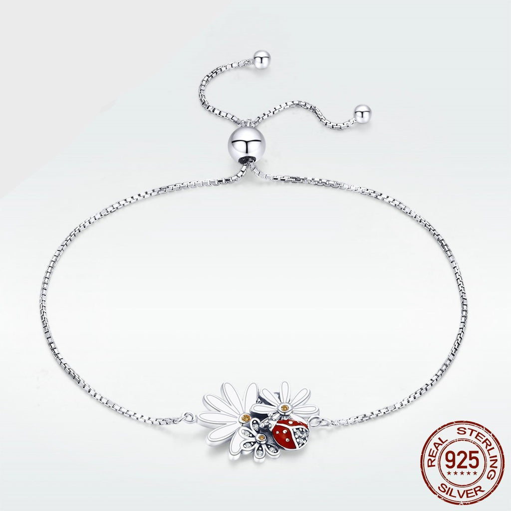 Silver Bracelets for Women 925 Sterling Silver Enamel Flower Ladybug Insects Adjustable Bracelet Moda 2018 GXB101