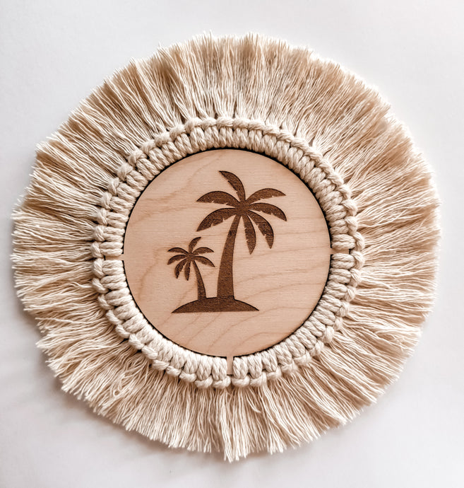 Palm Tree Plaque Boho - Wilde Peach Macrame Collection