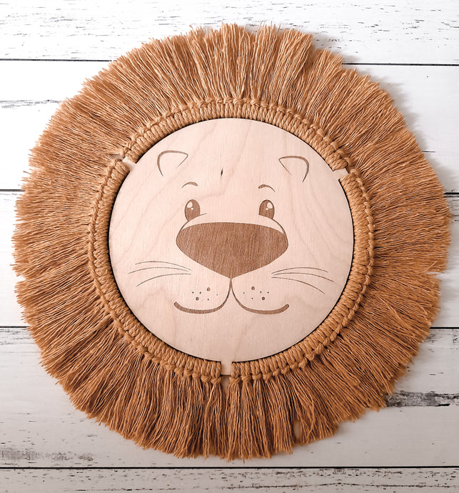 Lion Plaque  - Wilde Peach Macrame Collection