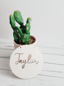 Name Plaque - Round - Peach n Pine