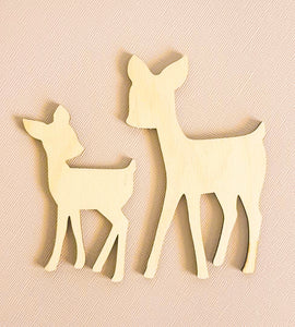 Deer Wood Decor - set of 2 - Peach n Pine