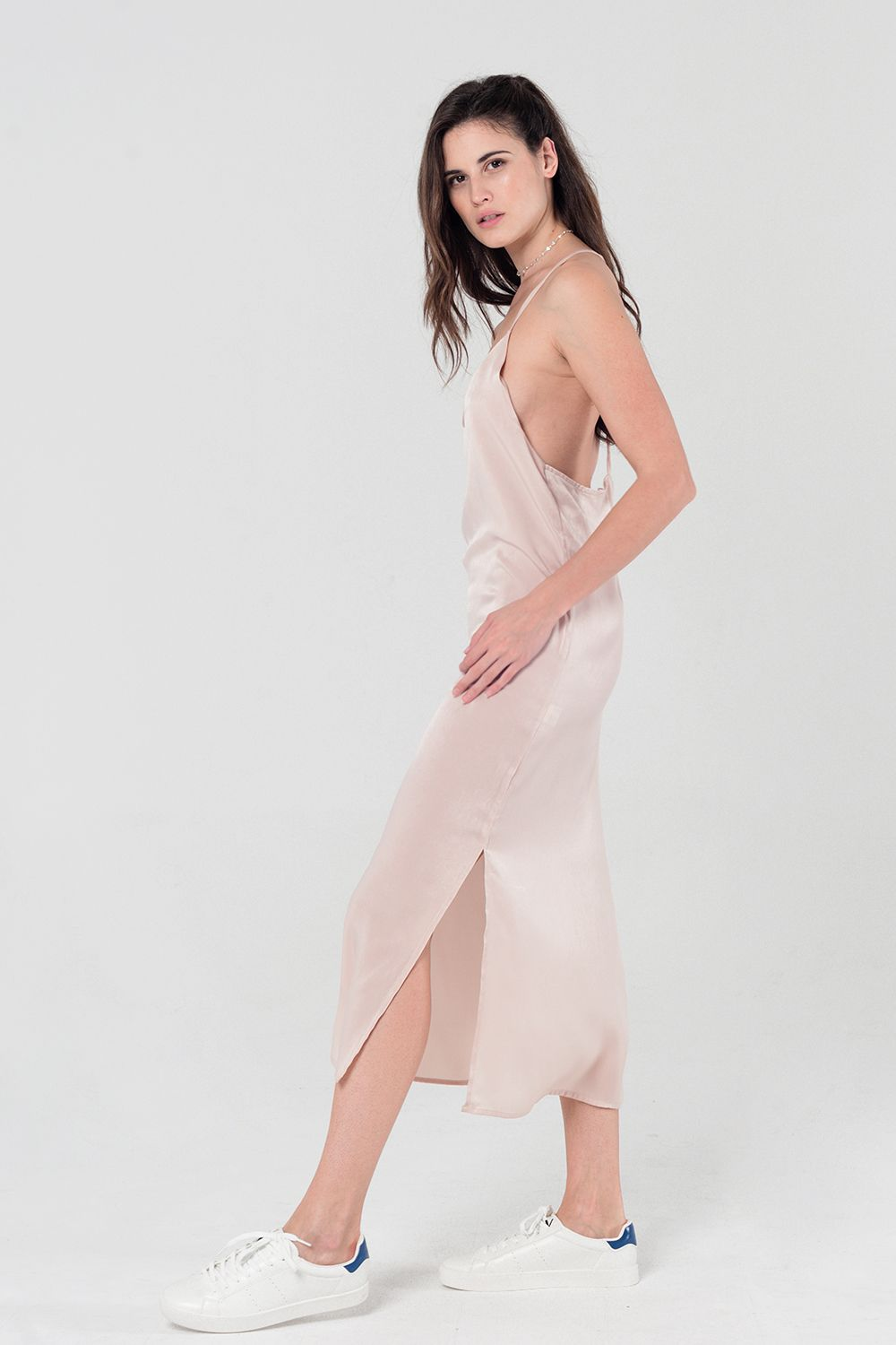 Cami slip dress in beige
