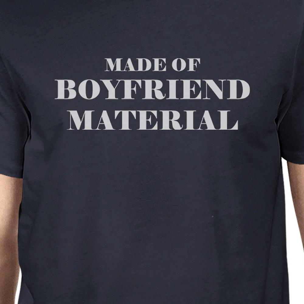 Boyfriend Material Mens Navy Crewneck Cotton T-Shirt Unique Graphic