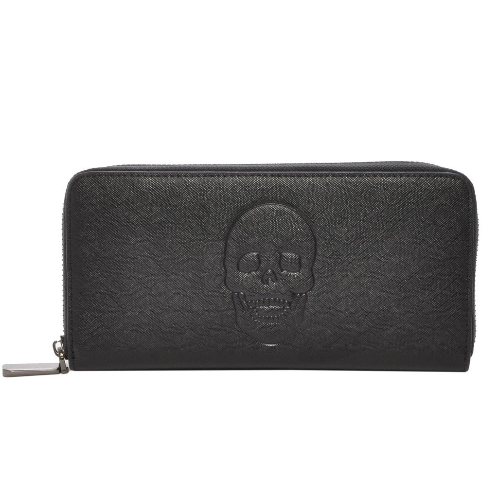 Mechaly Women's Skully skull head Black Vegan Leather Skull Wallet
