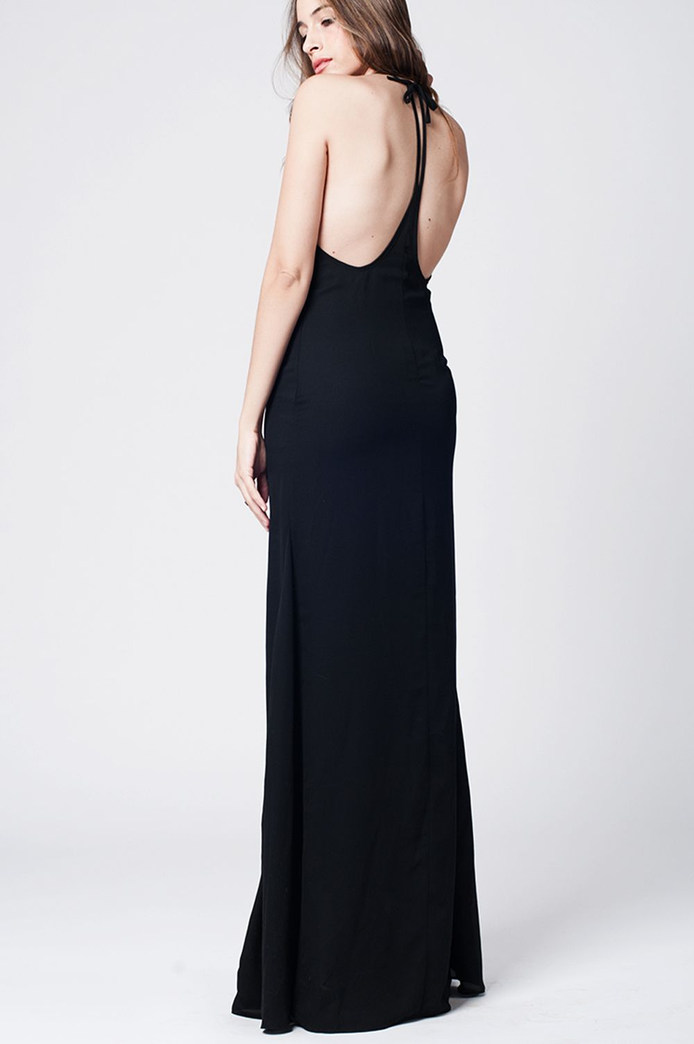 Black maxi dress with open back
