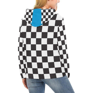 Checkered Blue Spray Paint Line Womens Hoodie