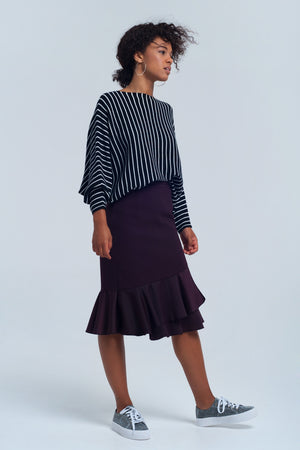 Black striped boat neck sweater