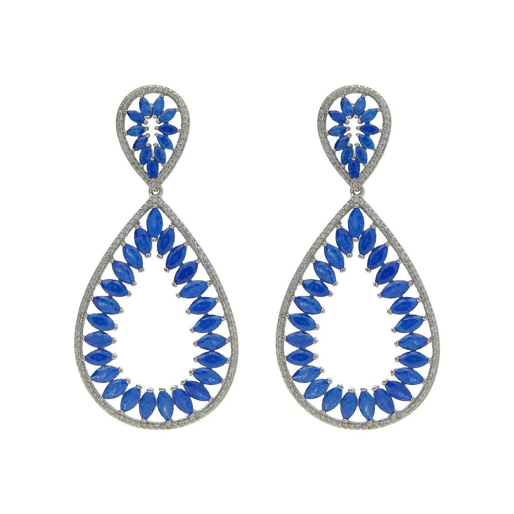 Fronay Co .925 Sterling Silver Marquis Blue Glass and Cz Statement Earrings