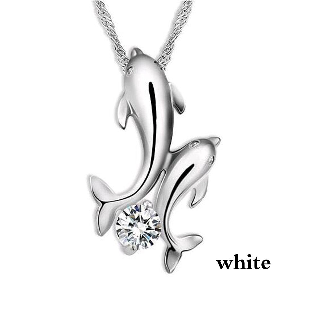 Dolphin Couple Rhinestone Necklace