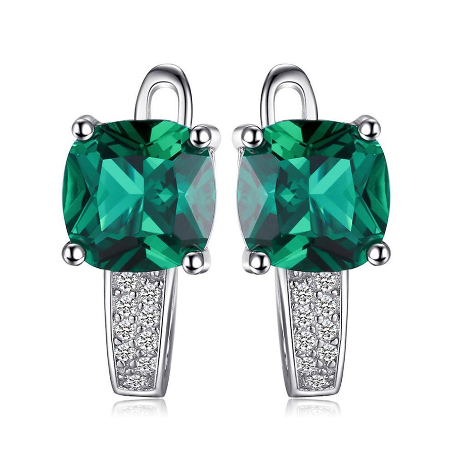 925 Sterling 3.1CT Emerald Clip Earrings