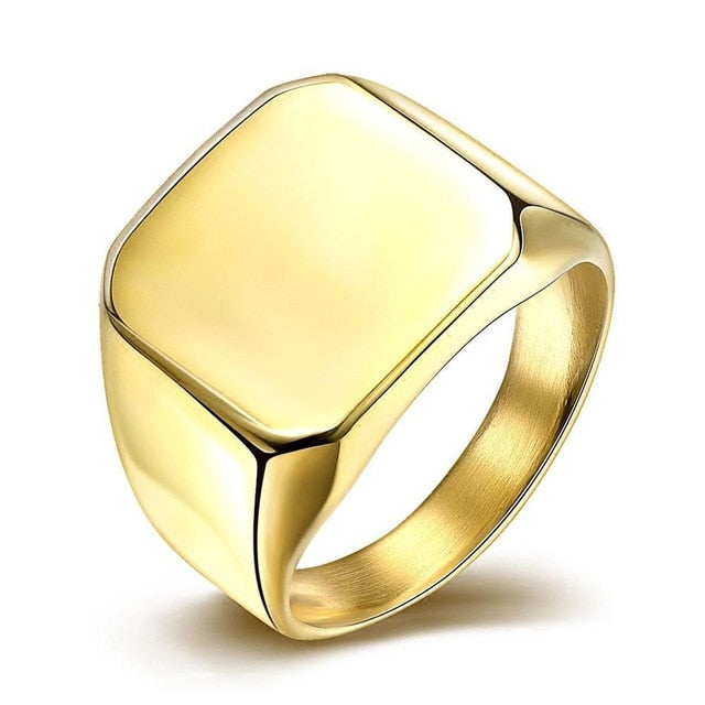 Steel Square Signet Ring