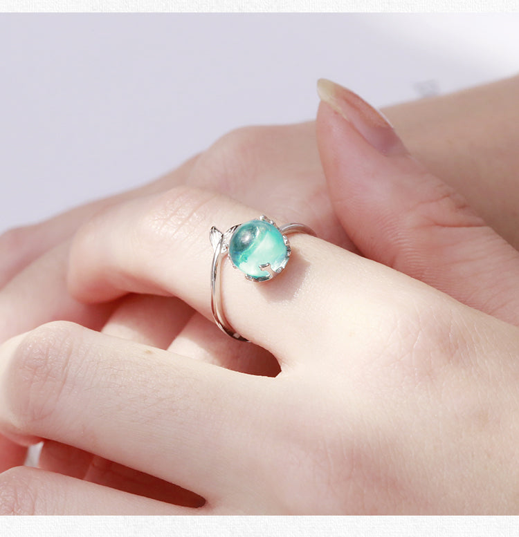 925 Sterling Silver Aquatic Blue Crystal Ring