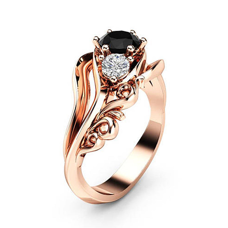 Black Rhinestone and Zircon Rose Gold Ring