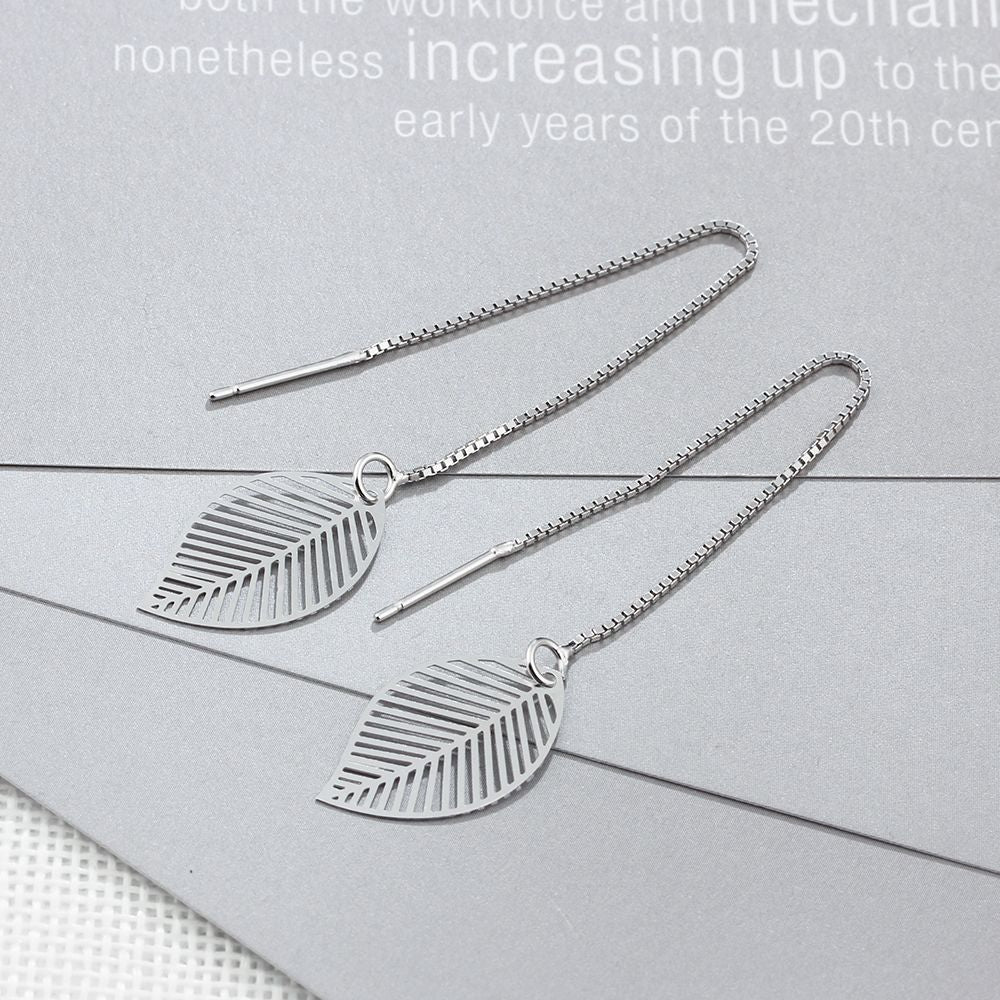 925 Sterling Silver Leaf Earrings