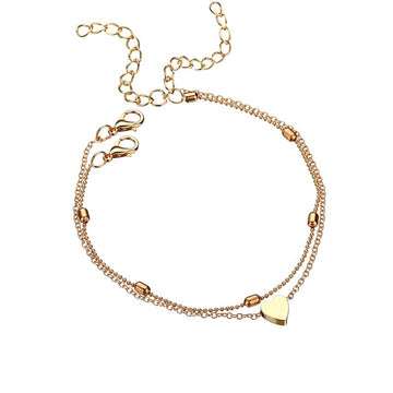 Double Chain Heart Anklet