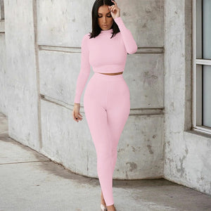Two Piece Sets Women Solid Autumn Tracksuits High Waist Stretchy Sportswear Hot Crop Tops And Leggings Matching Outfits