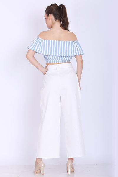 Women Top- Sea Blue and White Stripes Crop Top- sewandyou.com