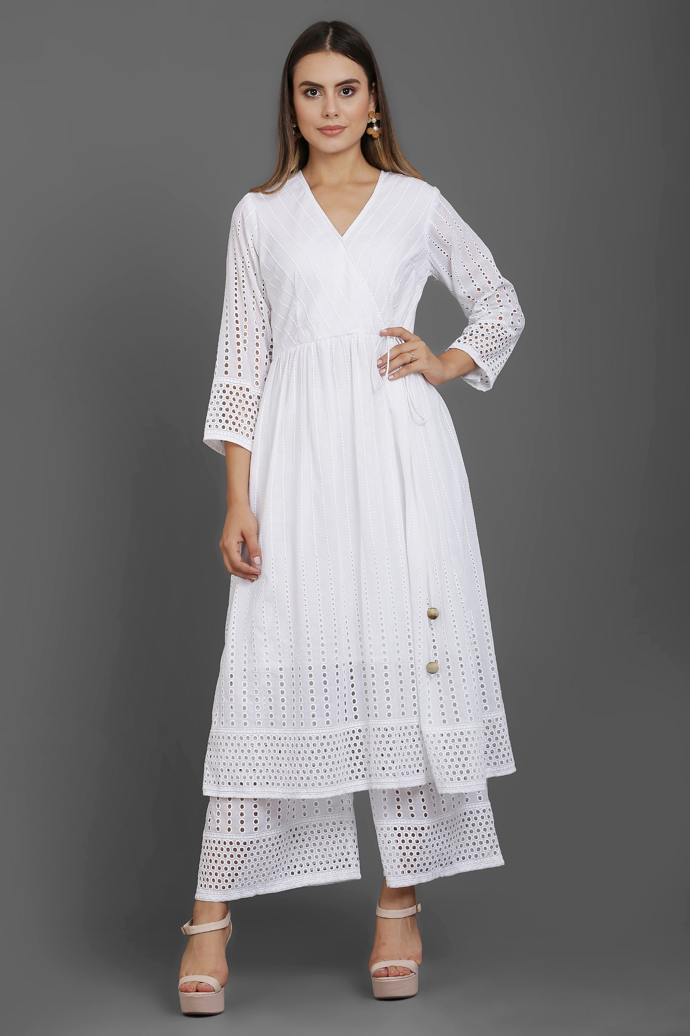 White Cotton Chikankari Kurta Set