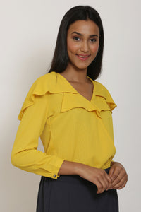 Yellow Cape Collar Top