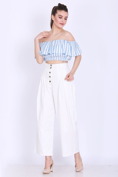 Sea Blue and White Stripes Crop Top