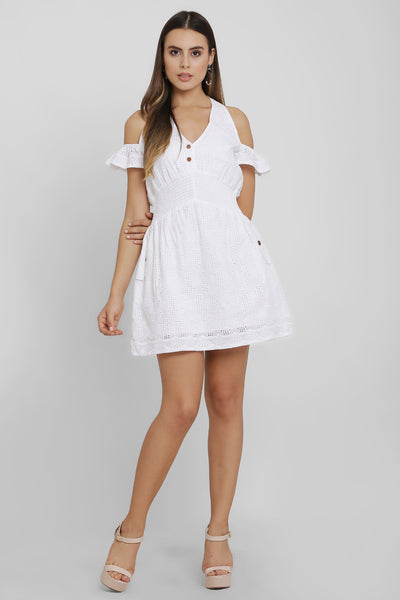 White Schiffli Short Dress