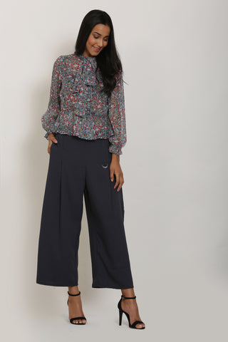 Teal Floral Print Top and Grey Culottes Set