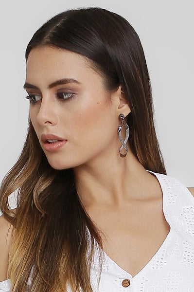 Grey Infinity Drop Earrings