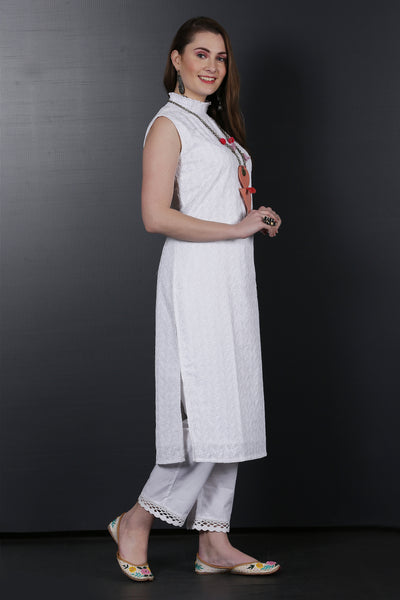 White  High Neck Embroidered Kurta Set