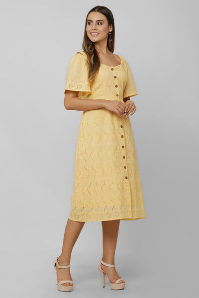 Mango Schiffli Midi Dress