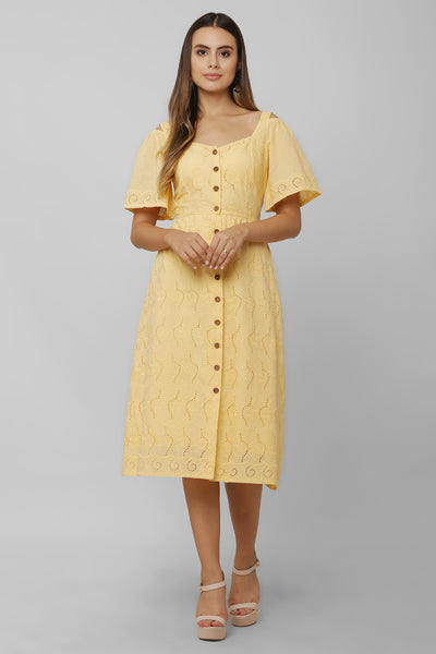 Mango Schiffli Midi Dress For Girls - Sewandyou.com
