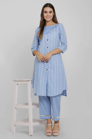 Blue and White Embroidered Kurta Set