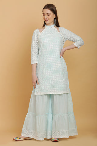 Aqua Embroidered Kurta and Garara Set