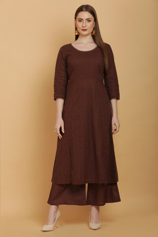 Mocha Embroidered Kurta Set