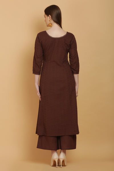 Mocha Embroidered Kurta Set with Dupatta