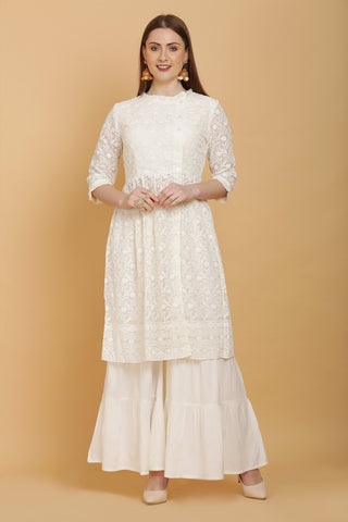 Off -White Kurta and Garara Set