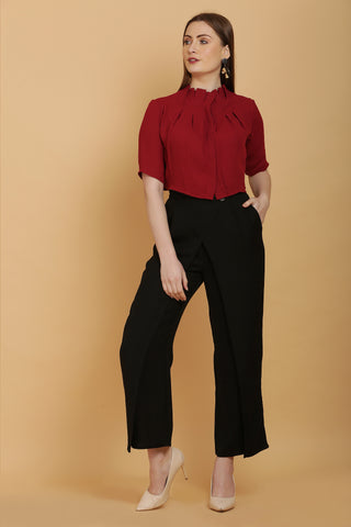 Crimson Pleated Crop Shirt