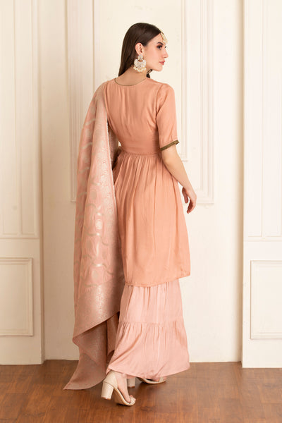 Rose Kurta and Garara Set with Dupatta
