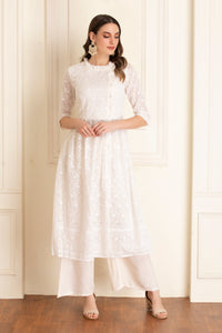 Off-White Chikankari Sequence Kurta Set