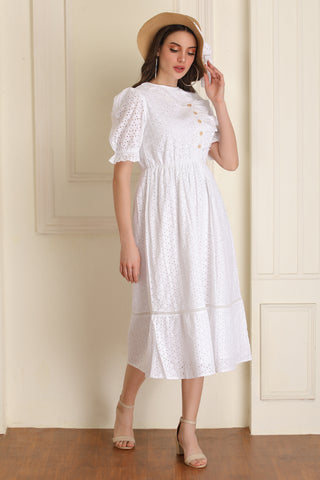 White Schiffli Midi Dress