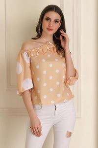 Yellow and White Polka Dot Top