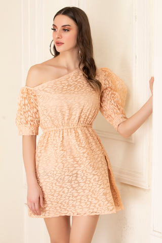 Peach Organza Short Dress