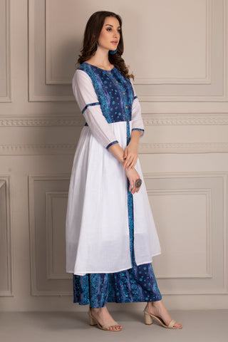 Indigo and White Kurta Set